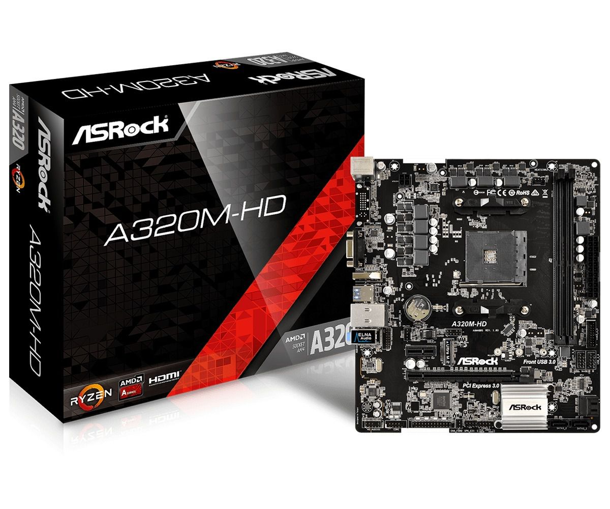 Placa Mãe ASRock A320M-HD AM4 A320 DDR4