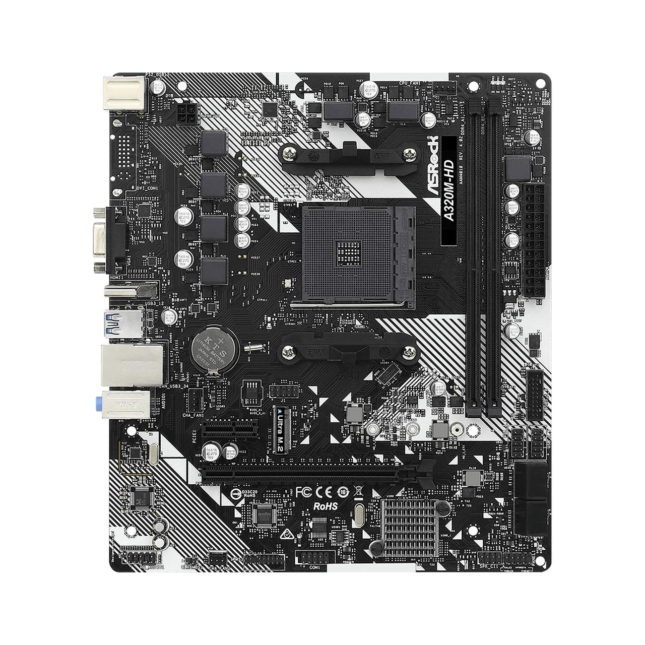 Placa Mãe ASRock A320M-HD R4.0 Chipset A320 AMD AM4 mATX DDR4