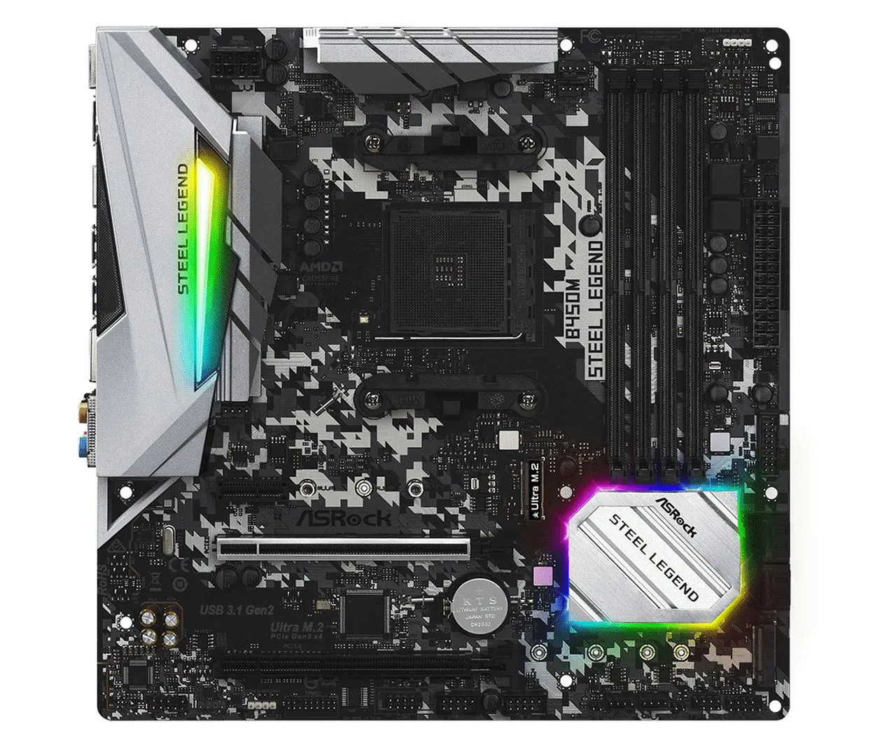 Placa Mãe ASRock B450M Steel Legend Chipset B450 AMD AM4 mATX DDR4