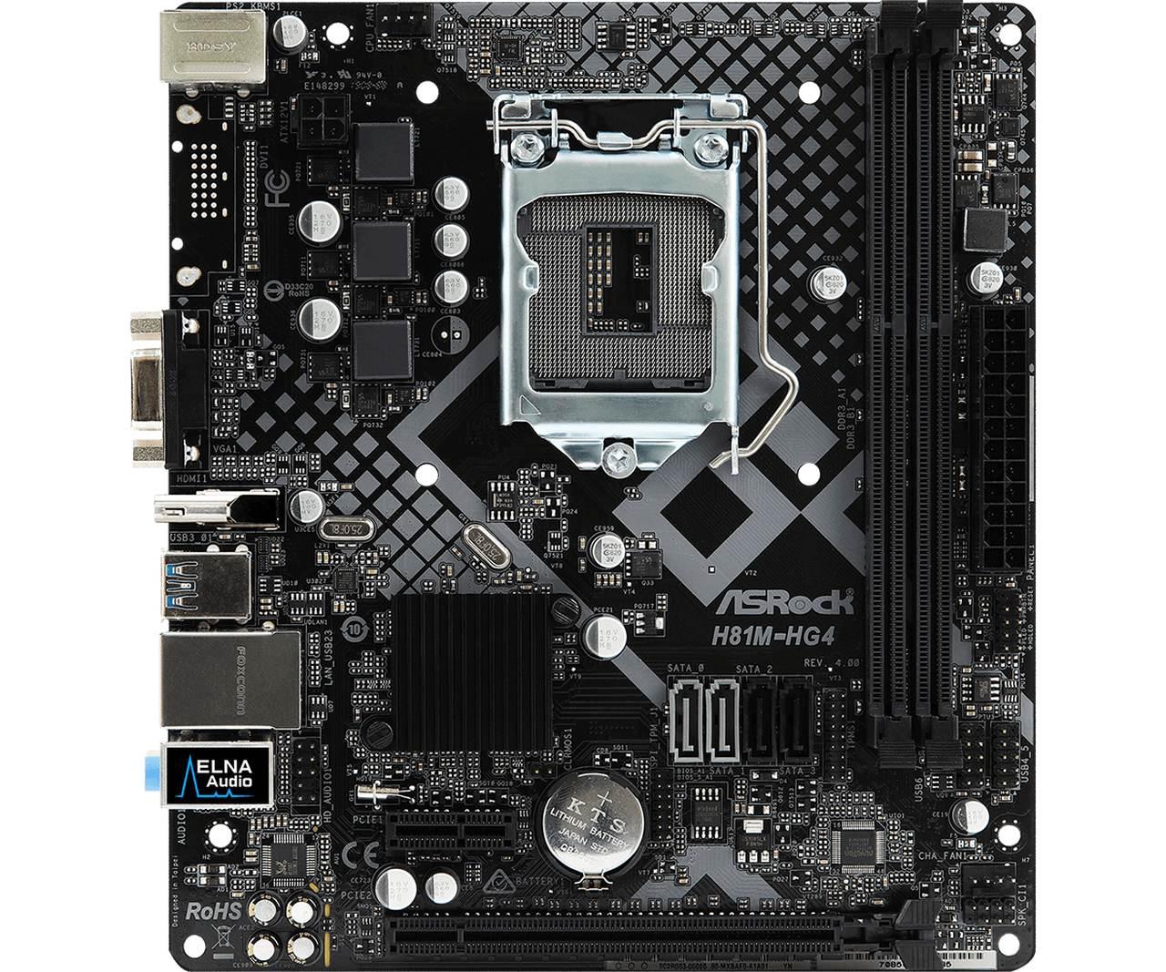 Placa Mãe ASRock H81M-HG4 R4.0 Intel LGA 1150 mATX DDR3
