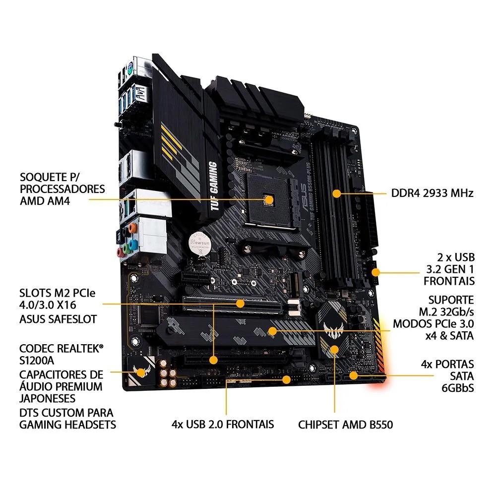 Placa mãe Asus TUF Gaming B550M Plus B550 AM4 DDR4 Ryzen