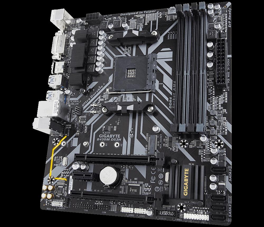 Placa mãe Gigabyte B450M DS3H DDR4 AMD AM4 M-ATX