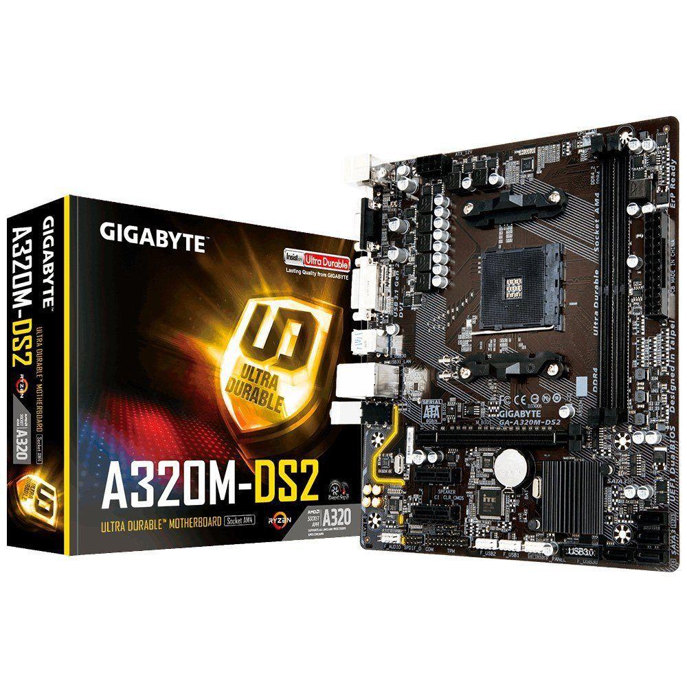 Placa Mãe Gigabyte GA A320M DS2 Chipset AMD DDR4