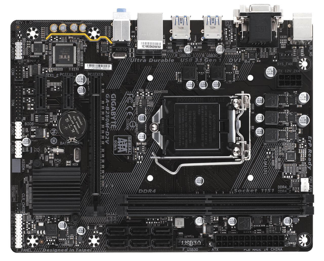 Placa Mãe Gigabyte GA-B250M-D2V LGA 1151 DDR4 USB 3.1