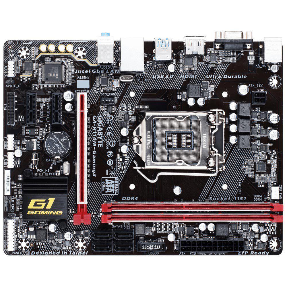 PLACA MAE GIGABYTE GA-H110M-GAMING 3 DDR4, LGA 1151 MICRO ATX