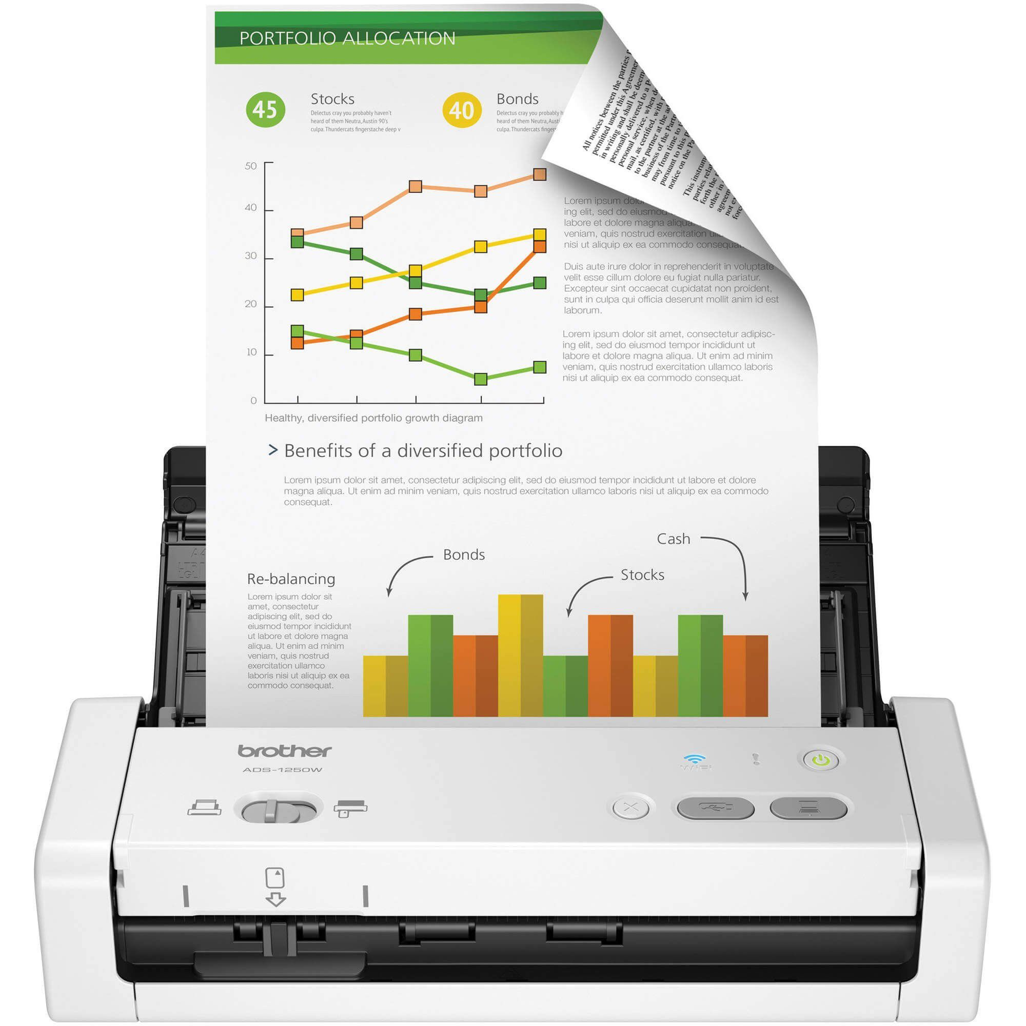 Scanner Brother ADS-1250W Wifi Portátil USB 3.0