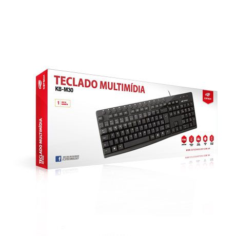 TECLADO C3TECH MULTIMÍDIA USB PRETO, KB-M30BK