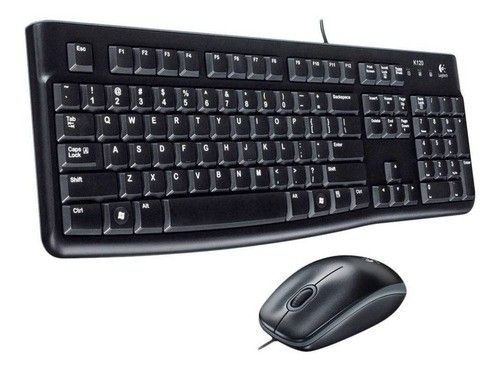 Teclado e Mouse Logitech MK120 Resistente a Água, 1000DPI, ABNT 2, Preto