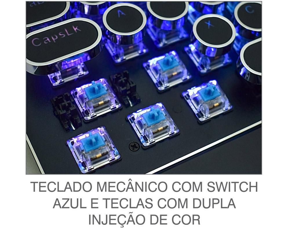 Teclado Gamer K-mex Steampunk KMM8 Mecânico Switch Blue RGB
