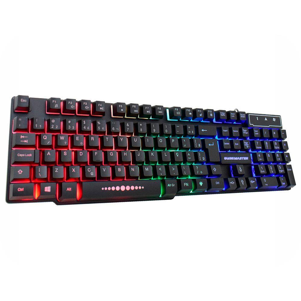 Teclado K-Mex Gamer Km52 RGB Rainbow Anti Ghost