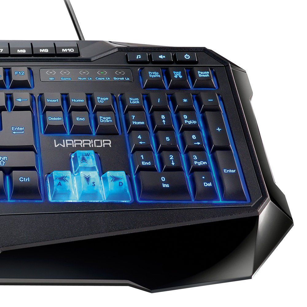 Teclado Gamer Warrior ABNT2 Preto com LED  - TC167