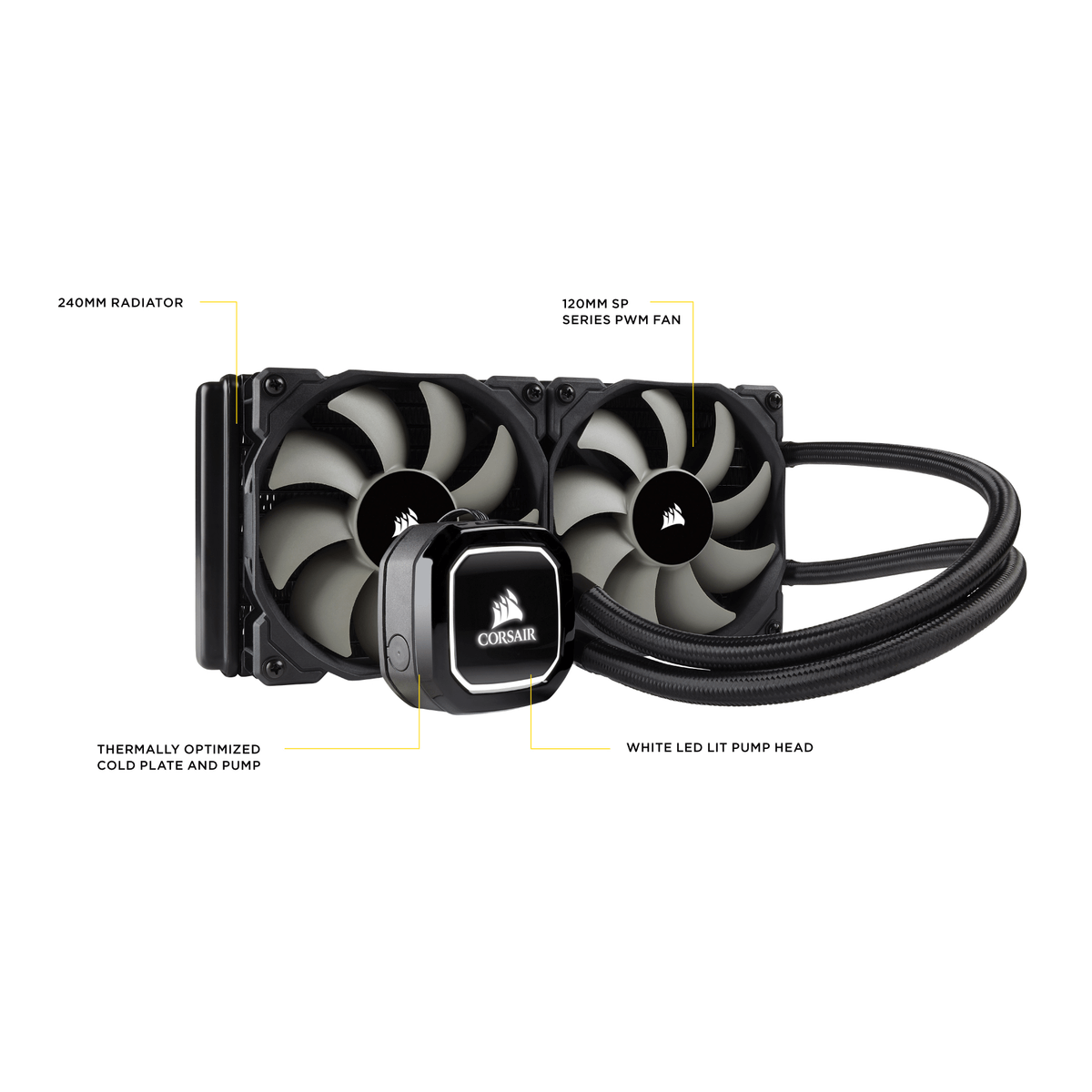 Water Cooler Corsair Hydro Series H100X 240MM LED BRANCO CW-9060040-WW