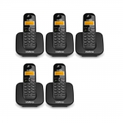 Kit 05 Telefone Sem Fio Intelbras Ts 3110 Preto