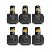 Kit 06 Telefone Sem Fio Intelbras Ts 3110 Preto
