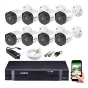 Kit CFTV 08 câmeras VHD 3130 B G6 + DVR 1108 S/ HD + Acessórios
