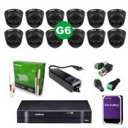Kit CFTV 12 Câmeras VHD 1220 D Black G6 + MHDX 1116 C/HD 2TB + Acessórios