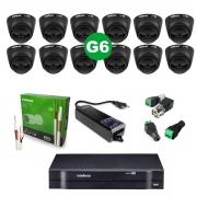 Kit CFTV 12 Câmeras VHD 1220 D Black G6 + MHDX 1116 S/ HD + Acessórios