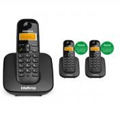 KIT TELEFONE INTELBRAS SEM FIO TS 3110 + 02 RAMAL TS 3111 PRETO