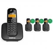 KIT TELEFONE INTELBRAS SEM FIO TS 3110 + 03 RAMAL TS 3111 PRETO