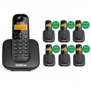 KIT TELEFONE INTELBRAS SEM FIO TS 3110 + 06 RAMAL TS 3111 PRETO