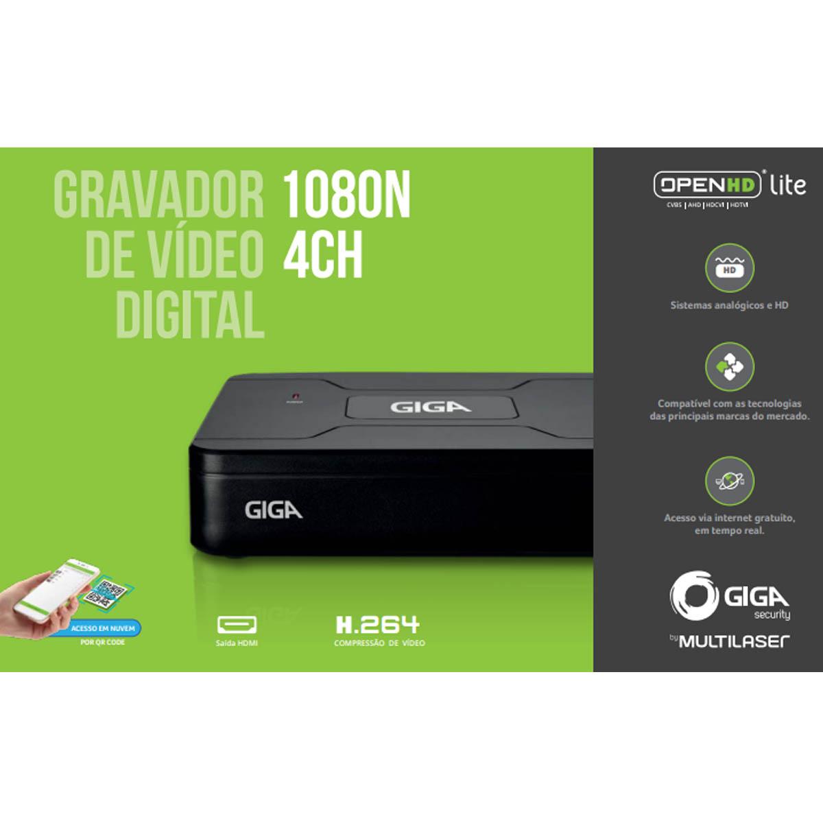 DVR STAND ALONEOPEN HD LITE  1080N 4 CANAIS GS0082 - GIGA