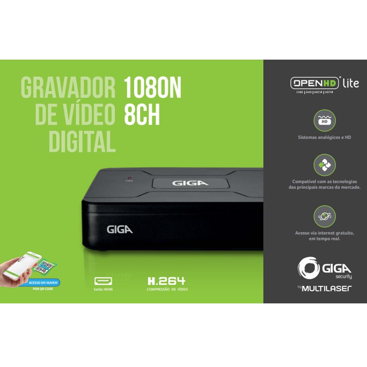 STAND ALONE GIGA DVR OPEN HD LITE  1080N 8 CANAIS GS0083