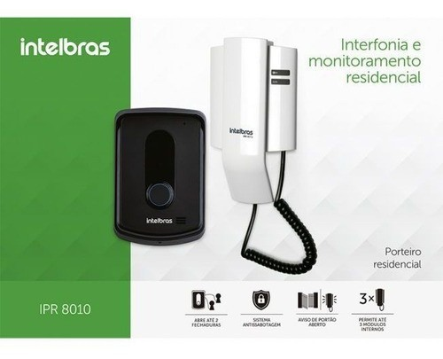 INTERFONE PORTEIRO ELETRÔNICO RESIDENCIAL INTELBRAS IPR 8010
