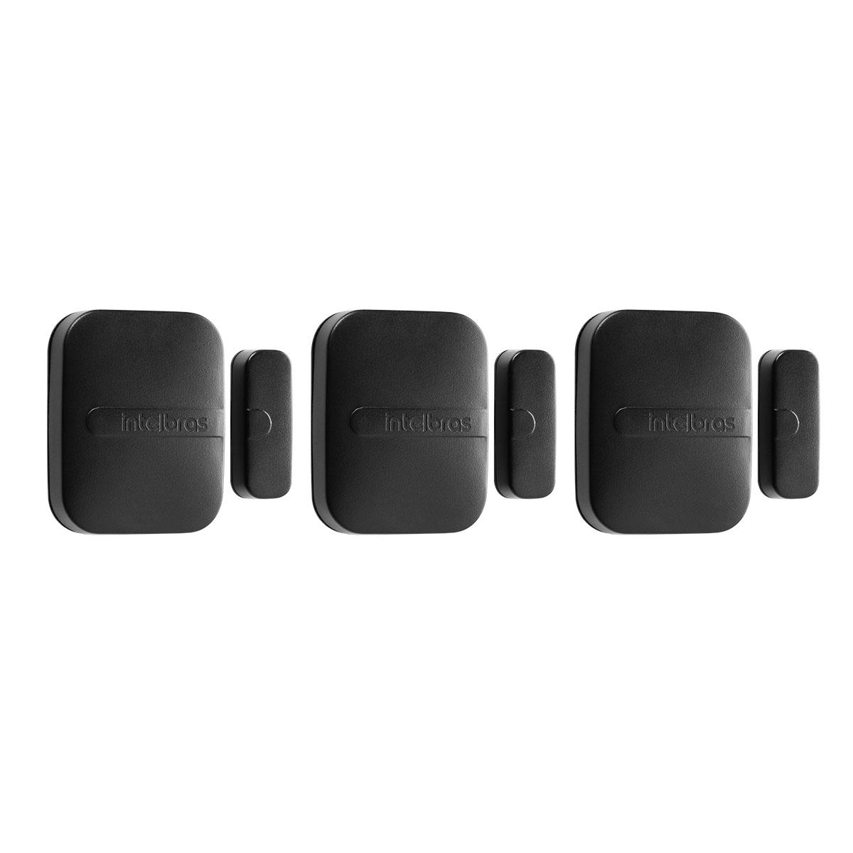 Kit 03 Sensor Magnético Intelbras Sem Fio Xas Smart Black