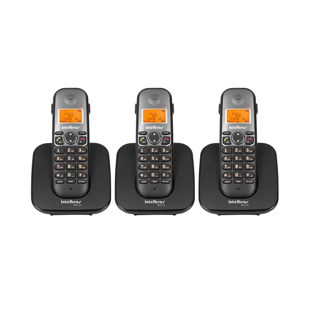 Kit 03 Telefone Sem Fio Intelbras Ts 5120