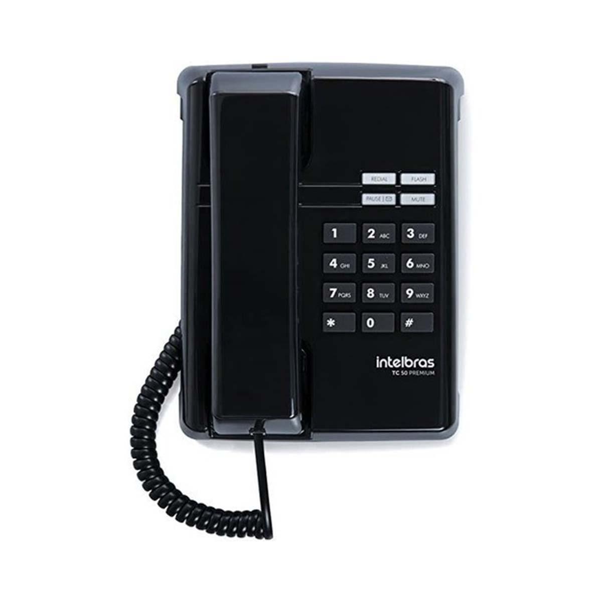 Kit 05 Telefone De Mesa Intelbras Tc50 Premium Preto