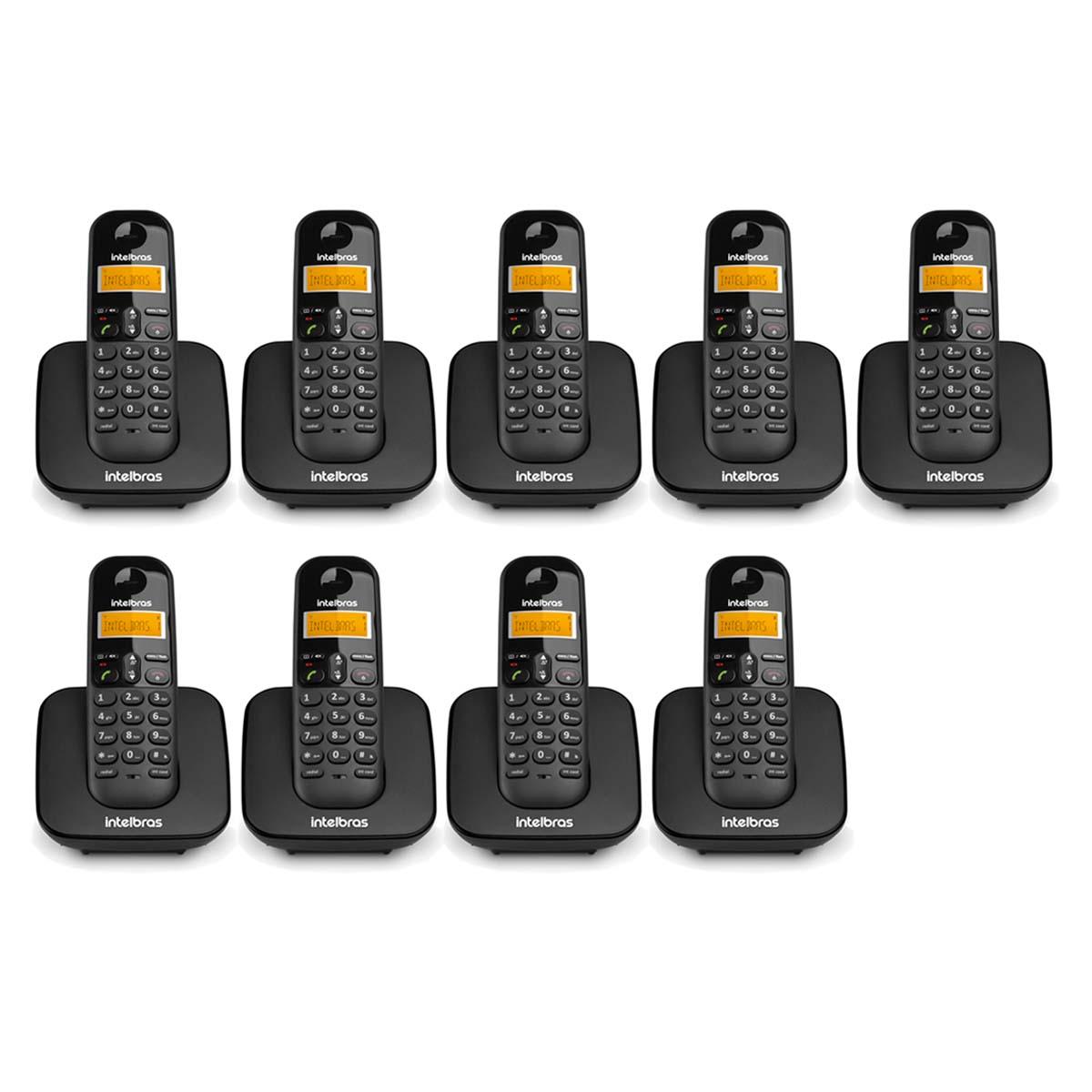 Kit 09 Telefone Sem Fio Intelbras Ts 3110 Preto