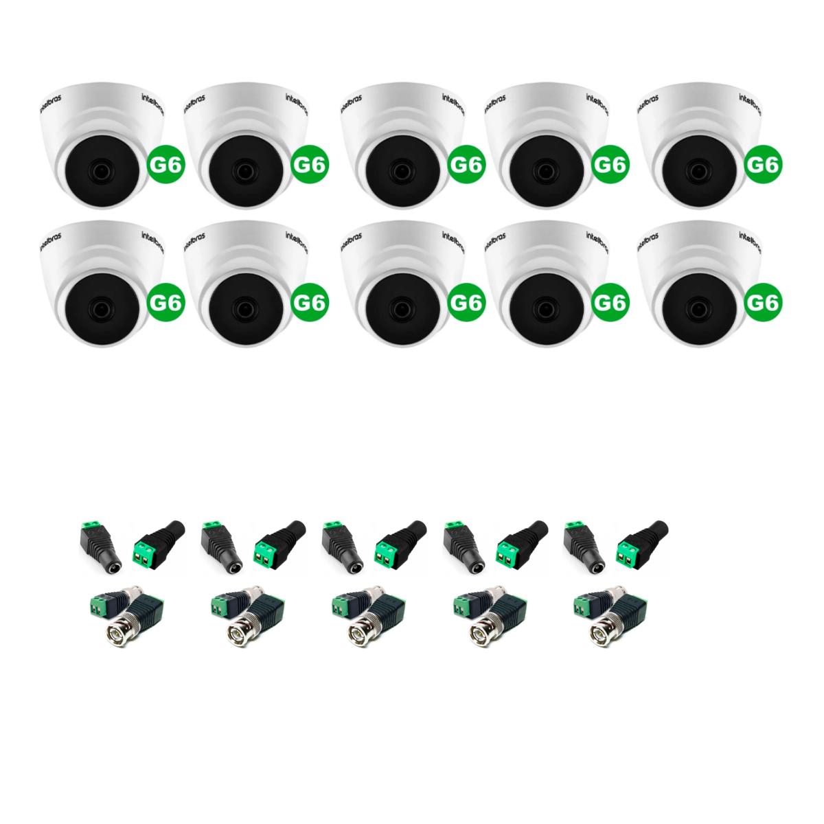 kit 10 Câmera Dome Intelbras VHD 1120 D G6 + Conectores