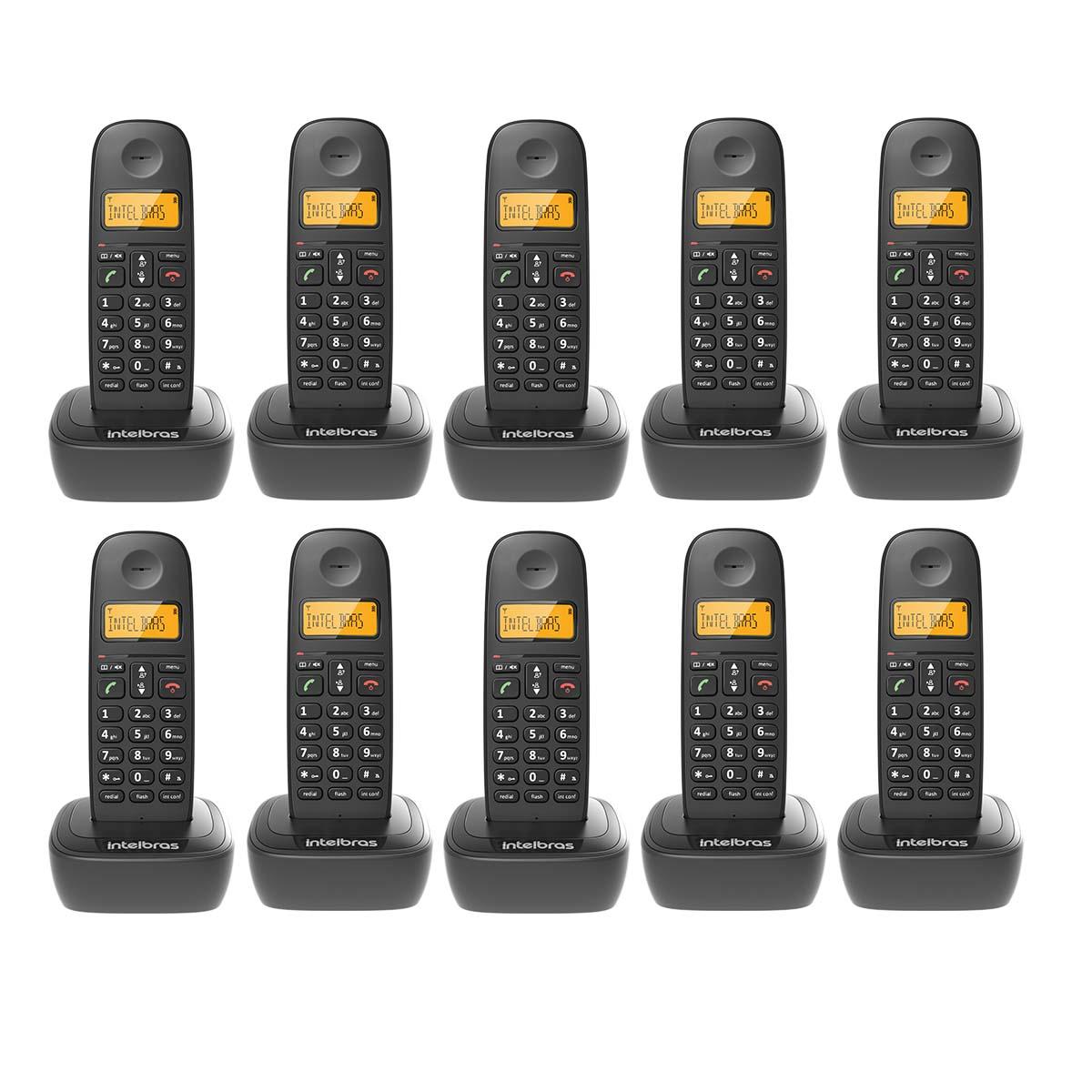 Kit 10 Telefone Sem Fio Intelbras Ts 2510 Preto