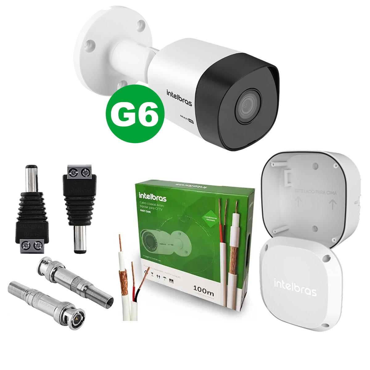 Kit Câmera Bullet Intelbras Vhd 3130 B G6 3,6mm + Cabo + Acessórios