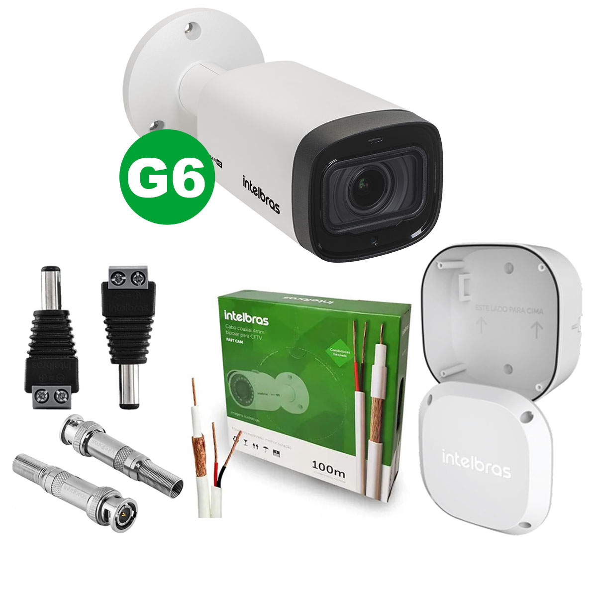 Kit Câmera Bullet Intelbras Vhd 3240 Vf G6 2.7 a 12mm + Cabo + Acessórios