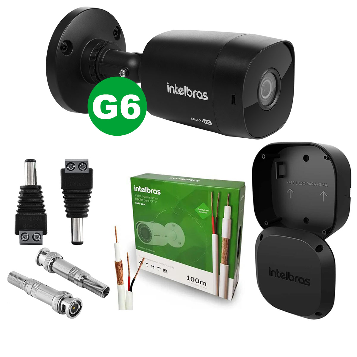 Kit Câmera Intelbras Vhd 1220 Black G6 3,6mm + Cabo + Acessórios