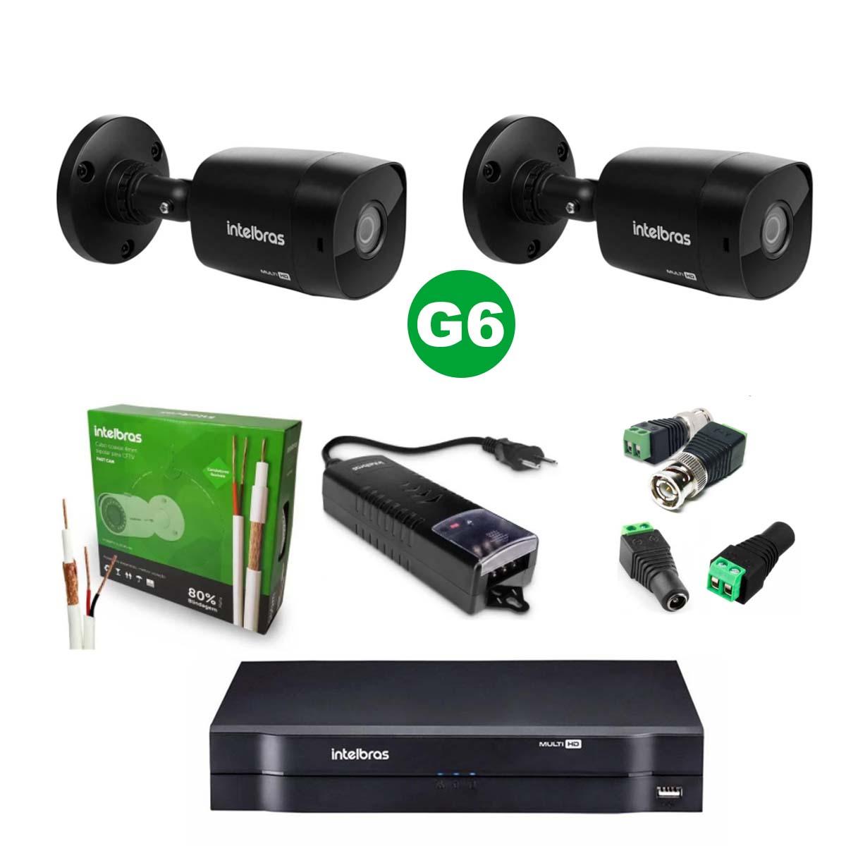 Kit CFTV 02 Câmeras VHD 1220 Black G6 + MHDX 1108 S/ HD + Acessórios