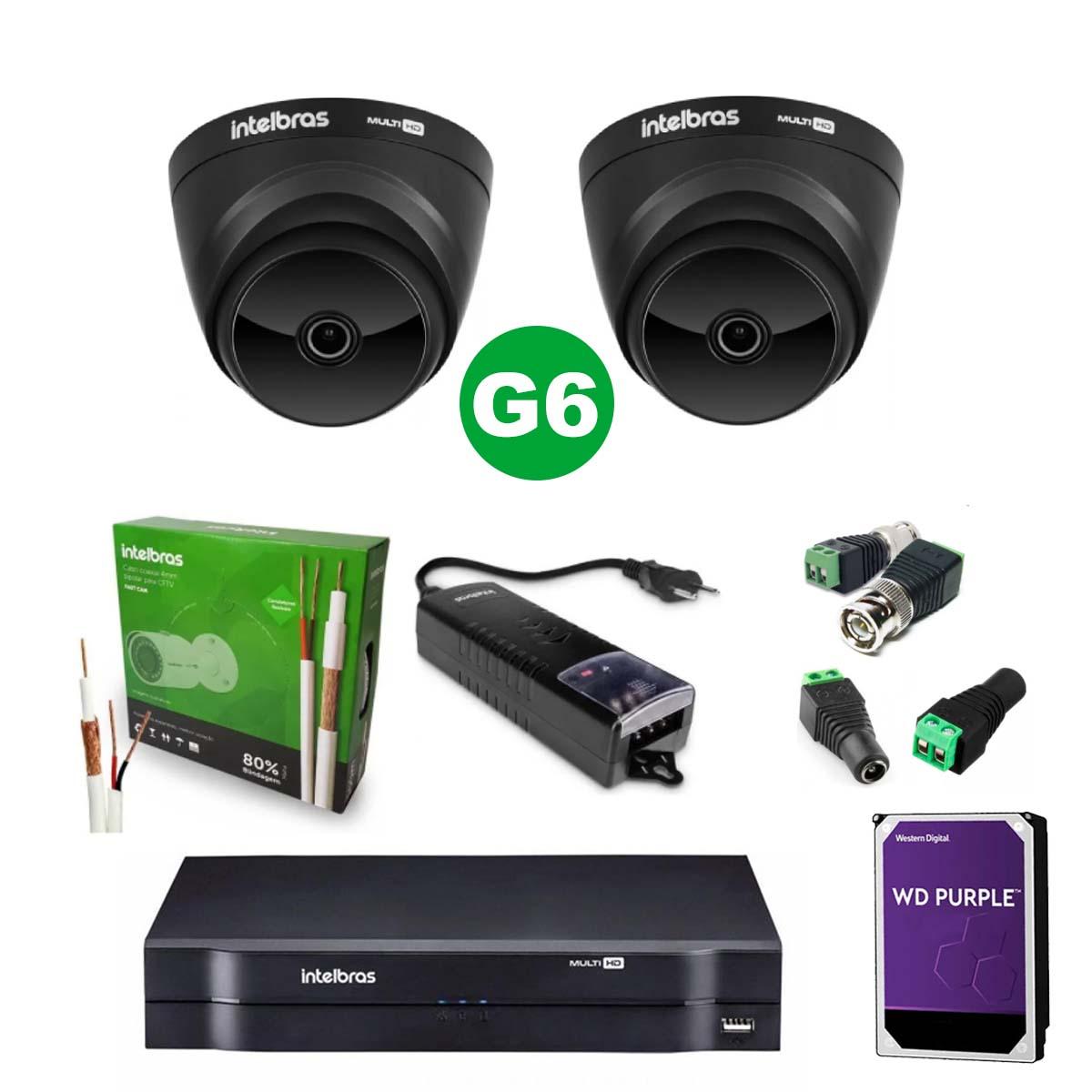 Kit CFTV 02 Câmeras VHD 1220 D Black G6 + MHDX 1104 C/ HD 2TB + Acessórios