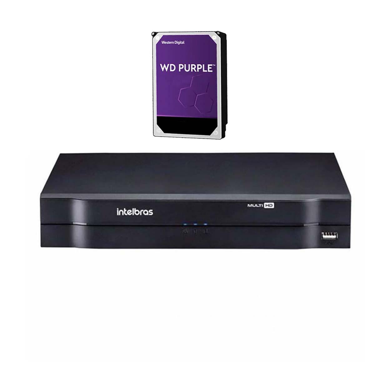 Kit CFTV 02 Câmeras VHD 1220 D Black G6 + MHDX 1108 C/ HD 1TB + Acessórios