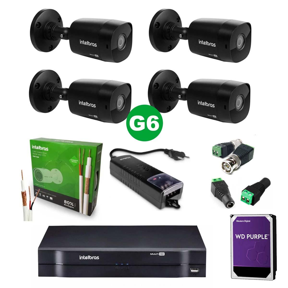 Kit CFTV 04 Câmeras VHD 1220 Black G6 + MHDX 1104 C/ HD 2TB + Acessórios