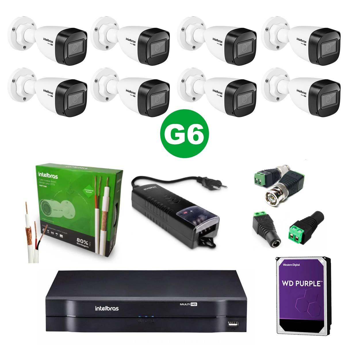 Kit CFTV 08 Câmeras VHD 1120 B G6 + MHDX 1116 C/HD 3TB + Acessórios