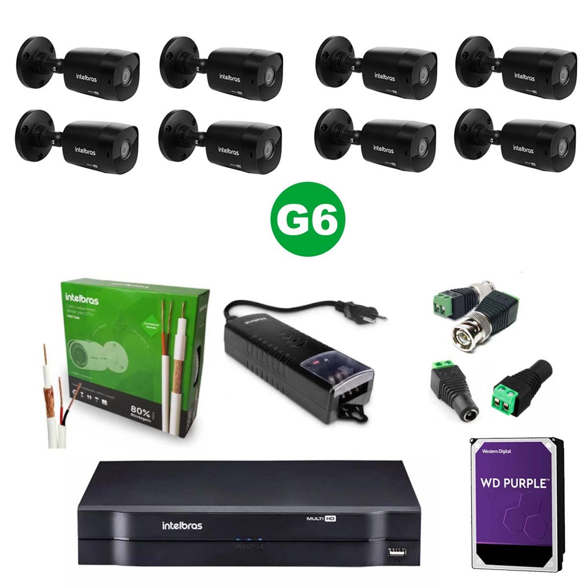 Kit CFTV 08 Câmeras VHD 1220 Black G6 + MHDX 1108 C/ HD 2TB + Acessórios