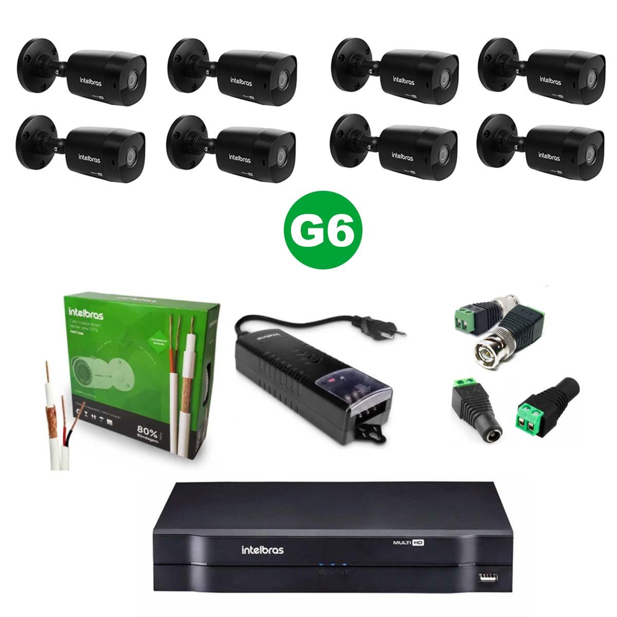 Kit CFTV 08 Câmeras VHD 1220 Black G6 + MHDX 1108 S/HD + Acessórios