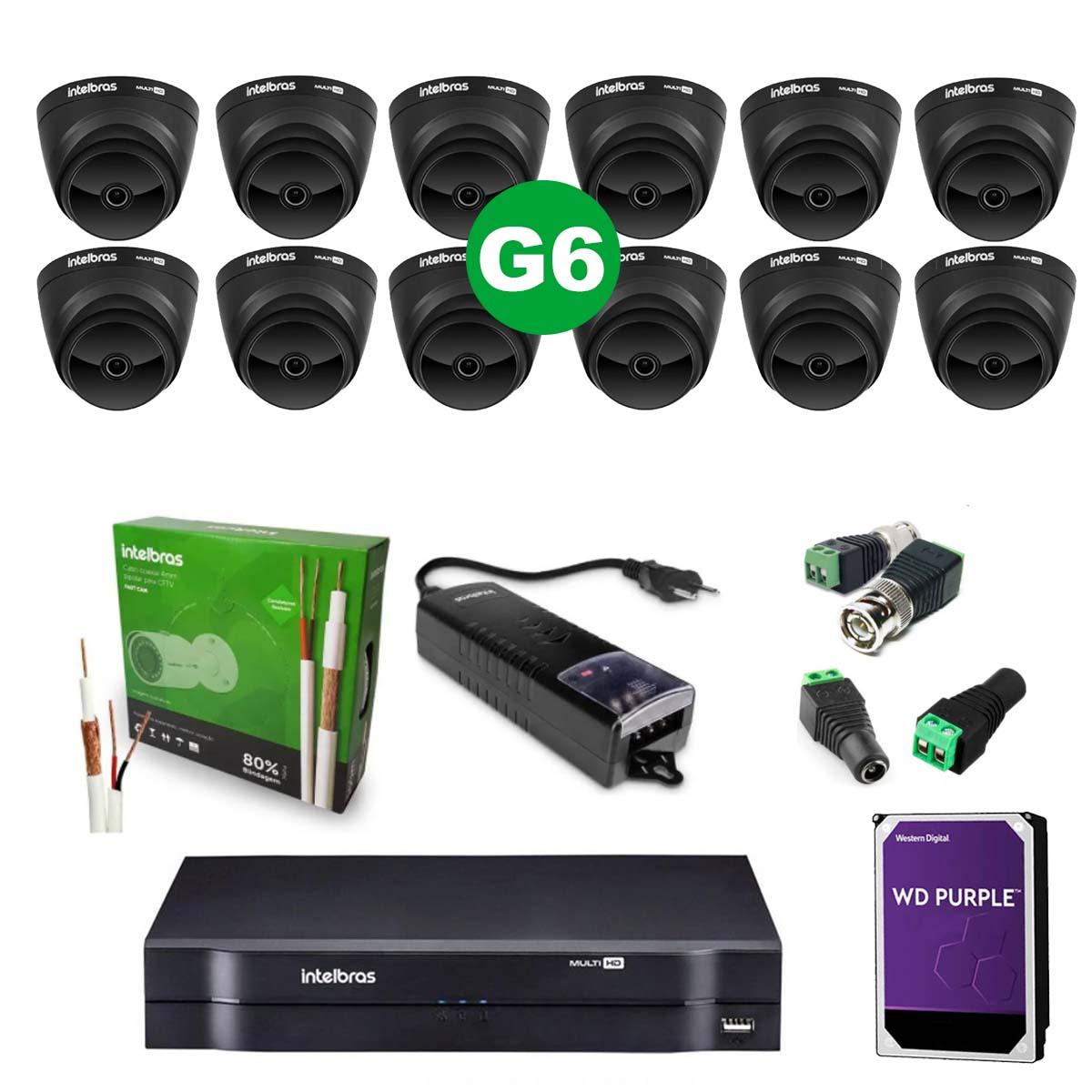Kit CFTV 12 Câmeras VHD 1220 D Black G6 + MHDX 1116 C/HD 1TB + Acessórios