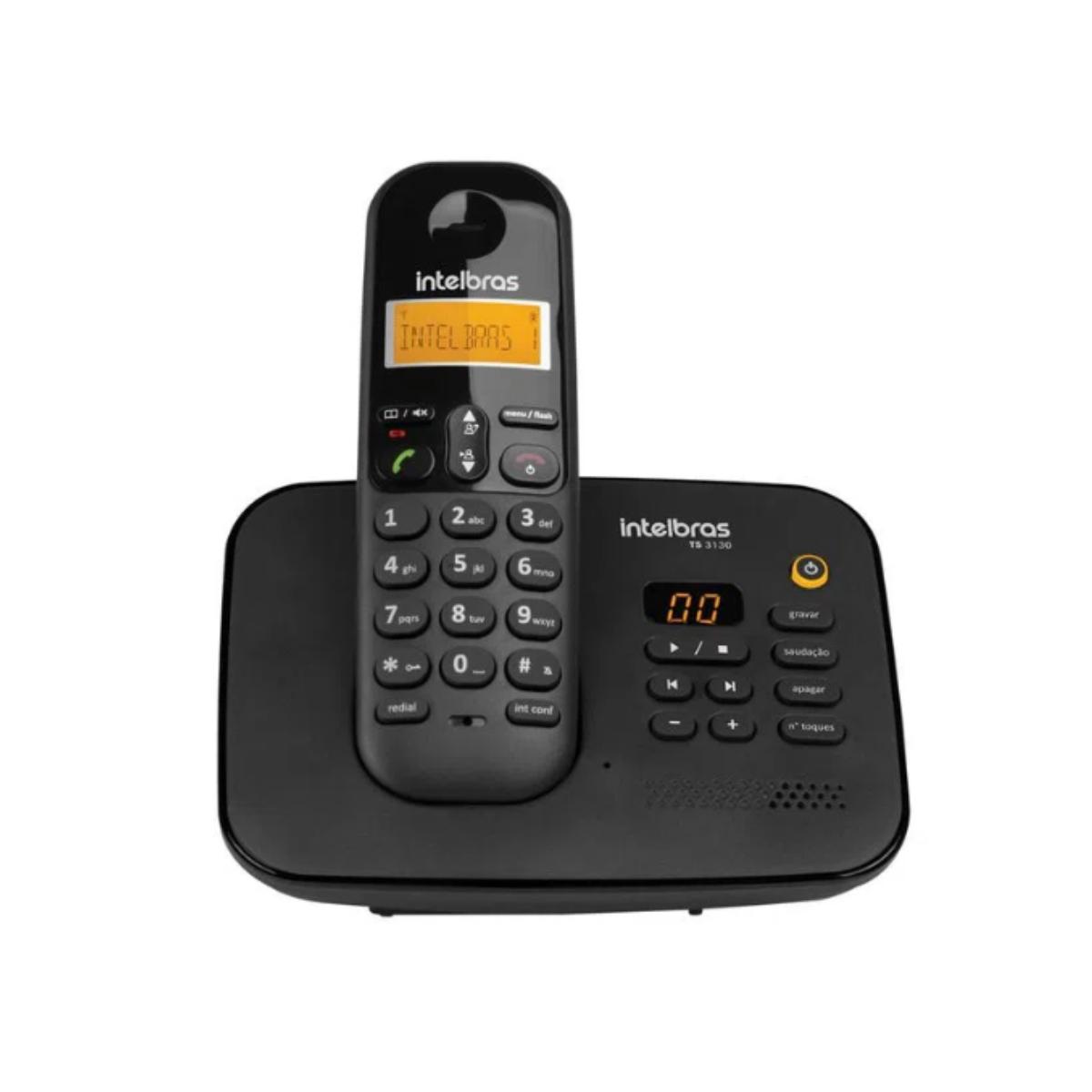 KIT TELEFONE INTELBRAS SEM FIO TS 3130 + 03 RAMAL TS 3111 PRETO