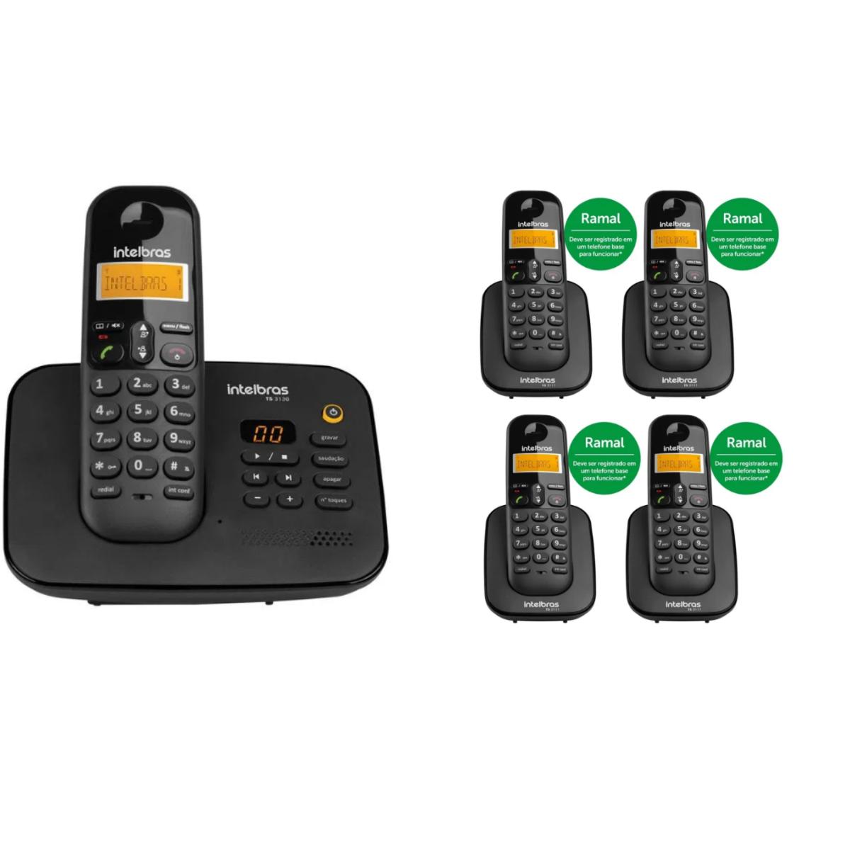 KIT TELEFONE INTELBRAS SEM FIO TS 3130 + 04 RAMAL TS 3111 PRETO