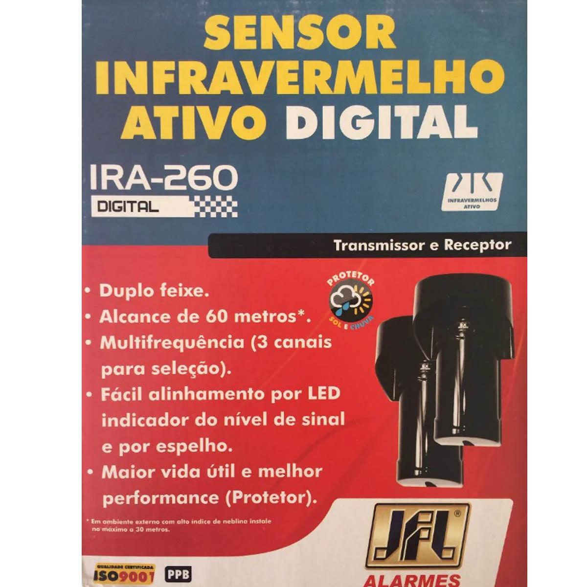SENSOR DE BARREIRA DUPLO FEIXE 60MTS IRA-260DIG V2 JFL