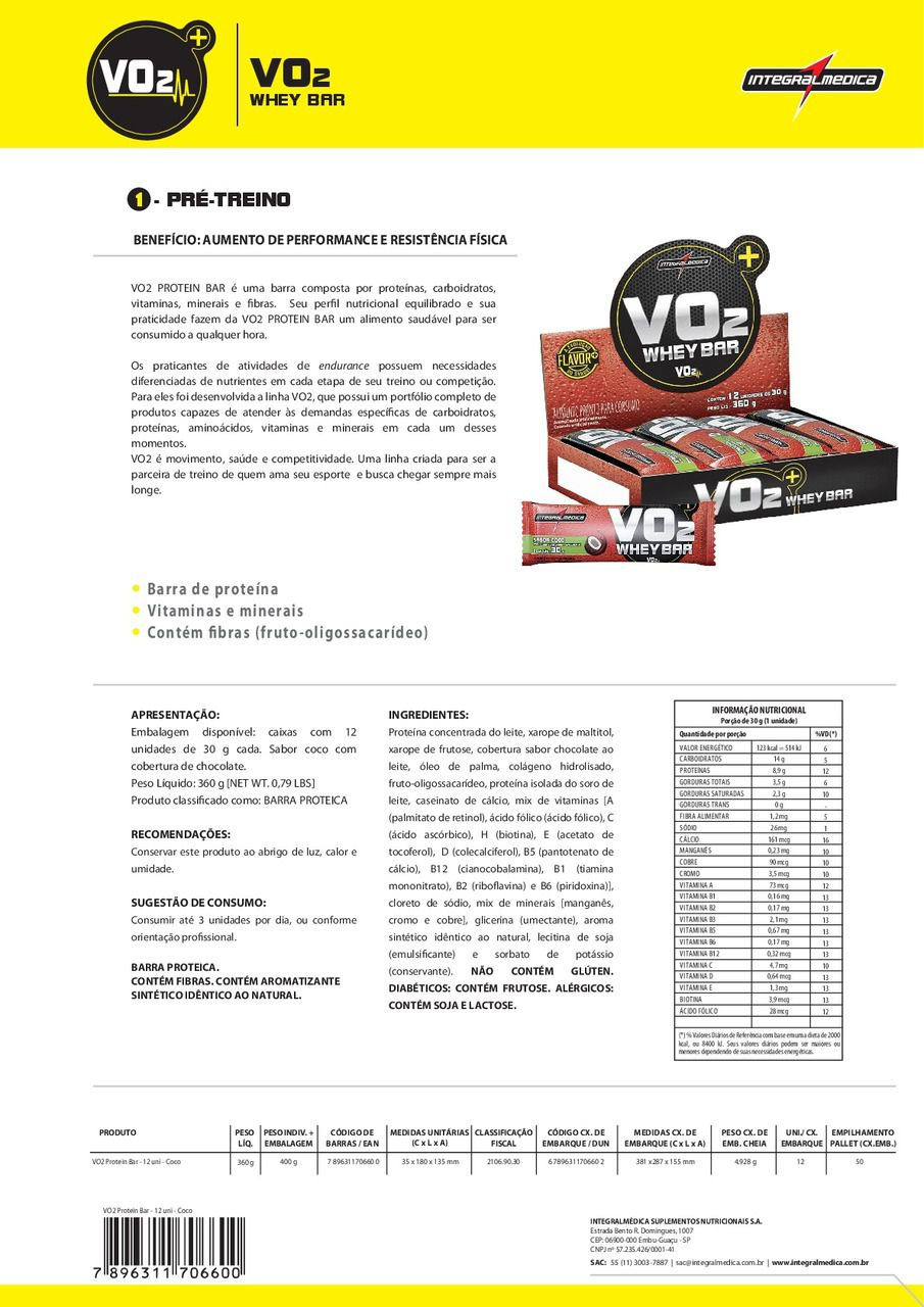 f23f62ed4 VO2 PROTEIN BAR (24 UN. - 30G) - INTEGRAL MÉDICA - Suplemento do Campeão