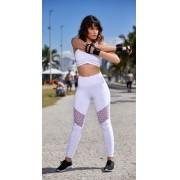 Calça Legging Fitness Poliamida Renda Branco