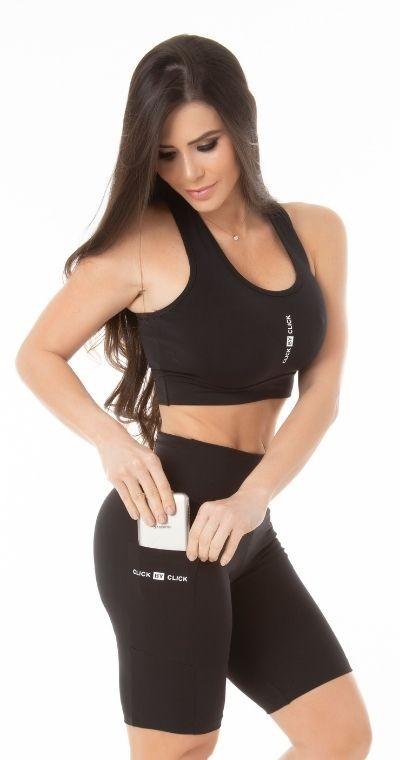Bermuda Fitness Bolsinho Black